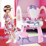 Zoomie Kids Mannford Kids Vanity Set w/ Mirror Plastic in Pink, Size 27.5 H x 17.7 W x 9.4 D in | Wayfair C59045EB8FE2421A858ABE082BF61AA4