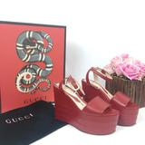 Gucci Shoes | New Gucci Red Leather Platforms (Sz: 39) | Color: Red | Size: 39