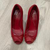 Gucci Shoes | Gucci Peep Toe Wedges | Color: Red | Size: 6