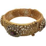 Faux Tourmaline Antique Style Filigree Bangle Bracelet - Metallic - Meghna Jewels Bracelets
