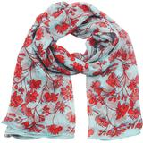 Lotty B Sarong In Silk Chiffon Flamboyant Flower - Blue - Pink House Mustique Scarves