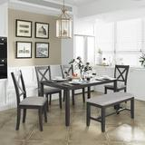 Gracie Oaks Gray Six-Piece Kitchen Dining Table Set Wood/Upholstered Chairs in Brown/Gray, Size 30.0 H x 36.0 W x 60.0 D in | Wayfair