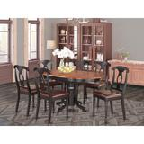 Charlton Home® Dufferin 7 - Piece Butterfly Leaf Rubberwood Solid Wood Dining Set Wood/Upholstered Chairs in Brown | Wayfair