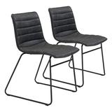 17 Stories Jack Dining Chair Set Of 2 Vintage BrownUpholstered in Black, Size 31.9 H x 18.5 W x 21.7 D in | Wayfair