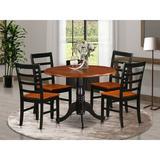 Alcott Hill® Villani 5 - Piece Drop Leaf Solid Wood Dining Set Wood in Black/Brown, Size 29.5 H in | Wayfair 31270C32A0A044D68776A54B09464945