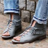 Anthropologie Shoes | Free People Firefly Lace Up Fringe Sandal, 37 | Color: Gray | Size: 7