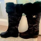 Coach Shoes | Coach Wedge Heel Winter Mackenzie Boot With Fur | Color: Black/Silver | Size: 6.5