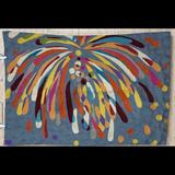 Anthropologie Wall Decor   Anthropologie Fireworks Wool Embroidery Rug 2 X 3   Color: Blue/Yellow   Size: Os