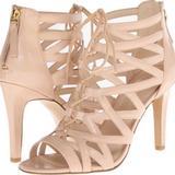 Nine West Shoes | Nine West Leather Ankle High Heel Sandals Beige | Color: Cream | Size: 7