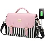 LOVEVOOK Laptop Bag for Women, Large capacity Computer Bags Cute Shoulder Messenger Bag, Business Work Bags Tote Briefcase Purse Laptop Sleeve Case, 14inch, Pink-Pro