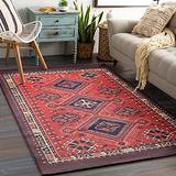 RoomTalks Vintage Turkish Small Area Rug 3x5 Persian Oriental Tribal Cotton Throw Rugs with Non-Slip Pad, Geometric Kilim Rug Floor Carpet for Kitchen Living Room Bathroom Washable (Orange, 3x5)