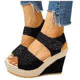 Womens Wedge Platform Slingback Open Toe Summer Comfy High Heel Beach Sandals, Fashion Women Heeled Sandals Shoes for Travelling Pool Party (Black, numeric_7)