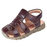 Aellons Boys Leather Sandals Closed Toe Outdoor Sport Summer Beach Casual Shoes Brown