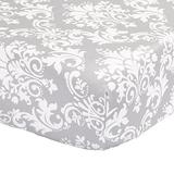 The Peanutshell Cotton Fitted Crib Sheet for Baby Girl or Baby Boy, Grey/White Damask