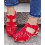 YASIRUN Women's Sandals Red - Red Perforated Closed-Toe Sandal - Women