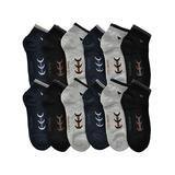 Angelina Men's Socks Assorted - Black & Gray Geometric Low Cut 12-Pair Socks Set - Men