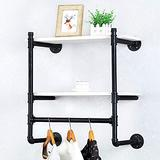 Industrial Pipe Clothing Rack Wall Mounted with Real Wood Shelf,Rustic Retail Garment Rack Display Rack Cloths Rack,Pipe Shelving Floating Shelves Wall Shelf,24in Steam punk Commercial Clothes Racks