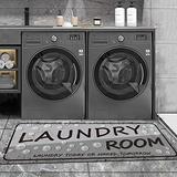Grey Laundry Mat Vintage Laundry Room Runner Rug Laundry Floor Mat Durable Washhouse Mat Black Rug Non-Slip Doormat Farmhouse Rug 20x48