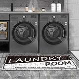 Laundry Room Rug Black Rug Vintage Laundry Room Runner Rug Laundry Floor Mat Durable Washhouse Mat Black Rug Non-Slip Doormat Farmhouse Rug 20x59Inch