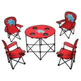 Fit Choice Kids Camping Chair Set 5 in 1, Patio Folding Chair Set, 4 Portable Folding Chair and 1 Outdoor Picnic Table (Elephant)