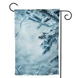 Dxichy Winter Scene Frosted Pine Branches.Winter in The Woods Falling,House Yard Garden Flag Outside Decoration Seasonal Home Decor Flag Rain 28''x40''