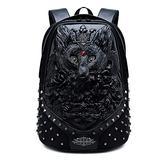 GJF Fashion Backpack New 3D Unisex Animals Print Daypack Backpack Childrens Backpack Kids Rucksack PU Shoulder Messenger Bag Black