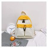 Seupeak Canvas School Bag Middle School Students Canvas Backpack hit Color Large Capacity Backpack Field Camping Backpack (Color : Yellow)