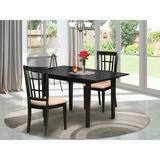 East West Furniture Butterfly Leaf Solid Wood Dining Set Wood/Upholstered Chairs in Black/Brown, Size 29.0 H in | Wayfair NONI3-BLK-C
