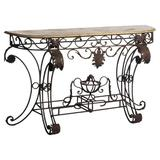 """ellahome French 58"""" Console Table Slate/Stone in Black/Gray, Size 35.5 H x 58.0 W x 16.0 D in 