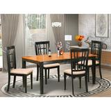 East West Furniture Butterfly Leaf Solid Wood Dining Set Wood/Upholstered Chairs in Black/Brown, Size 29.0 H in | Wayfair NONI5-BLK-C