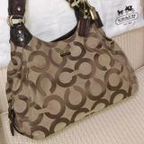 Coach Bags   Coach Madison Maggie Mia Hobo Bag, Beige Canvas   Color: Brown/Tan   Size: Medium-Large