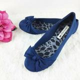 American Eagle Outfitters Shoes | American Eagle Aeo Navy Blue Flats Bow Suede Shoes | Color: Blue | Size: 8