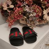 Gucci Shoes   Nib Cucci Pou Satin Nero Sandals   Color: Green/Red   Size: 37 7