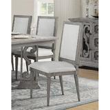 Canora Grey Peterman Side Chair (Set-2) In Fabric & Salvaged Natural w/ Decorative Scrolled Motifs Wood/Upholstered in Brown/Green/White | Wayfair