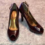 Nine West Shoes   Deep Red Nine West Peep-Toe Heels   Color: Red   Size: 7.5