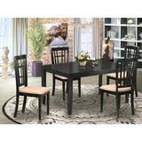 Winston Porter Agetina Rubberwood Solid Wood Dining Set Wood/Upholstered Chairs in Black/Brown, Size 30.0 H in | Wayfair