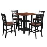 Red Barrel Studio® Jouan 5 Piece Dining Set w/ Double Shelf & Matching Chairs For Family Use, Dining Room Furniture Set, Black, Wood in Brown/Black