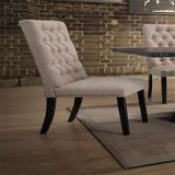 Red Barrel Studio® Junilla Side Chair (Set-2) In Tan Linen & Vintage Black,Tufted Backrest Wood/Upholstered/Fabric in Black/Brown/Green   Wayfair