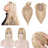 SEGO 120% Density Hair Topper With Bangs Silk Base Human Hair Top Hair Pieces Clip in Crown Topper for Slight Hair Loss Thinning Hair Cover Gray Hair -10 Inch Golden Brown&Bleach Blonde