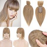 SEGO 120% Density Hair Topper With Bangs Silk Base Human Hair Top Hair Pieces Clip in Crown Topper for Slight Hair Loss Thinning Hair Cover Gray Hair -10 Inch Dark Blonde