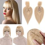 SEGO 120% Density Hair Topper With Bangs Silk Base Human Hair Top Hair Pieces Clip in Crown Topper for Slight Hair Loss Thinning Hair Cover Gray Hair -10 Inch Natural Blonde