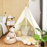 Costway Kid Foldable 3.92' x 3.92' Indoor/Outdoor Canvas Triangular Play Tent w/ Carrying Bag Canvas in White, Size 60.5 H x 47.0 W x 47.5 D in