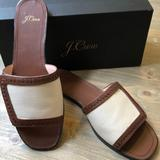 J. Crew Shoes | J Crew Canvas With Leather Framed Slide Sandal | Color: Brown/White | Size: 9.5