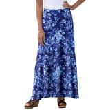 Plus Size Women's Everyday Knit Maxi Skirt by Jessica London in Navy Floral Print (Size 12)