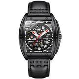 RORIOS Men's Watches Automatic Self Winding Watch Black Leather Strap Waterproof Luminous Mechanical Wristwatch Fashion Dress Watch for Men Boys