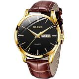 Men Watch Leather Brown Black Analog Quartz Casual Wristwatch for Men Father Boyfriend Day Date Waterproof Business Classy Simple Wrist Watches Gift (Black dial)