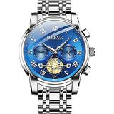OLEVS Business Watch Men with Date Green Face Luxury Men Wristwatches Stainless Steel Waterproof Man Clock Dress Watches Luminous 2020 New Watch Classic Two Tone Watches for Men Gold Green/Gold Blue