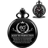 60th Birthday Gifts for Him - ManChDa Quartz Personalized Pocket Watch Engraved Customized with Chain and Gift Box Pocket Watches for Men Turning 60 Years Old