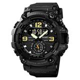 Men Digital Sports Watch, Dual Time Display LED Military Wrist Watch, Shockproof Large Dial Men Wristwatches Outdoor Waterproof Alarm Watches (Black)
