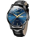 Men Watch Leather Brown Black Analog Quartz Casual Wristwatch for Men Father Boyfriend Day Date Waterproof Business Classy Simple Wrist Watches Gift (Y-Blue dial & Black Strap)